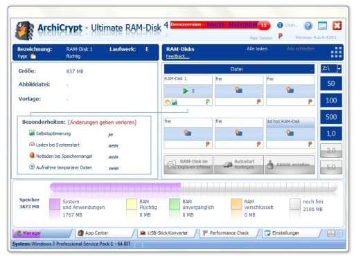 ArchiCrypt Ultimate RAM-Disk ©COMPUTER BILD