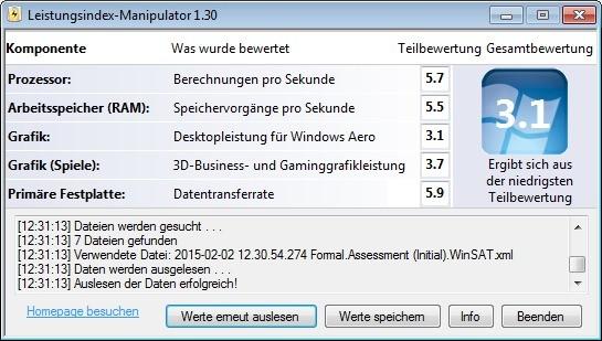 Screenshot 1 - Leistungsindex-Manipulator