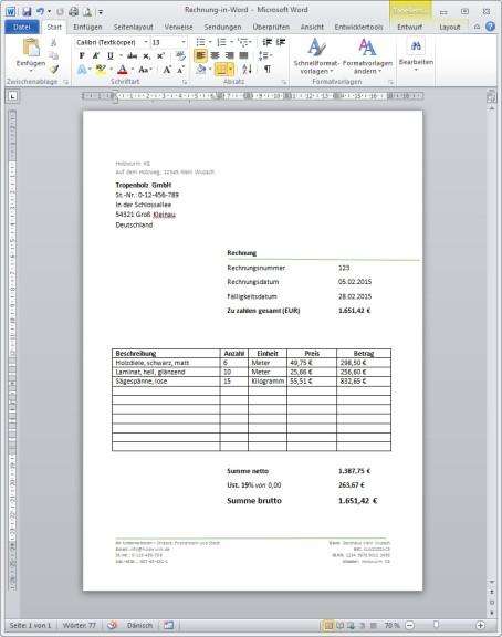Rechnungsvorlage Für Word Download Computer Bild