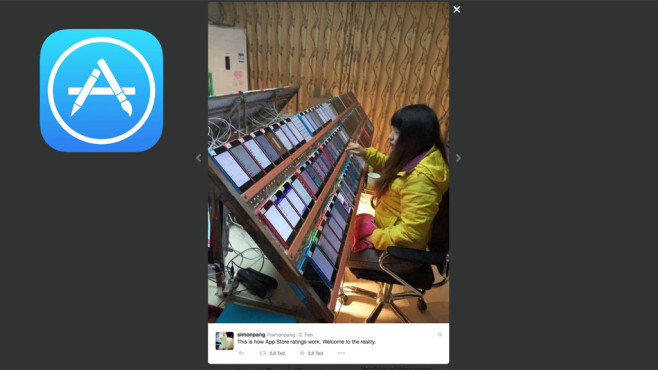 App Store Betrug©https://twitter.com/simonpang, Apple