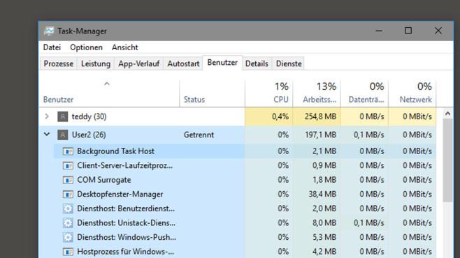 Benutzeraccounts, die eingeloggt sind, managen ©COMPUTER BILD