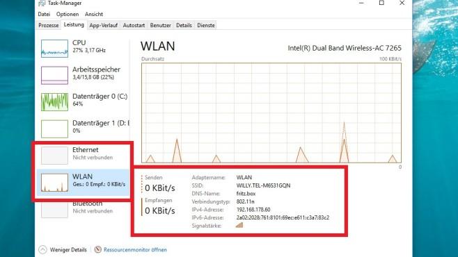 IP-Adresse oder WLAN-Signalstärke anzeigen ©COMPUTER BILD