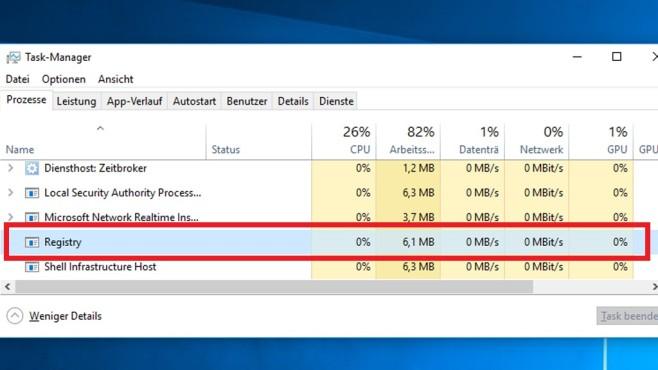 Registry im RAM und angehaltene Apps ©COMPUTER BILD