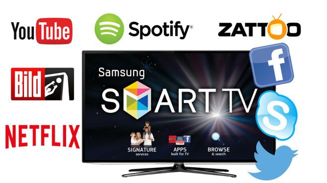 Samsung Smart-TV-Apps: Das sind die 20 besten! Alles in einem: Mit Apps holen Sie mehr als nur Fernsehen aus Ihrem Samsung-TV heraus. COMPUTER BILD zeigt die 20 besten.©Netflix, Axel Springer, YouTube, Spotify, Zattoo,Samsung, Facebook, Skype, Twitter