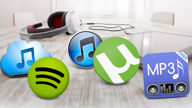 MP3-Download-Apps © Spectral-Design - Fotolia.com, Apple, Spotify, Free Music Copyleft, DreamzAppz, Bittorrent Inc