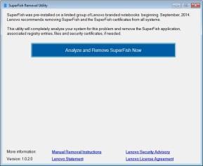 Lenovo Superfish Automatic Removal Tool