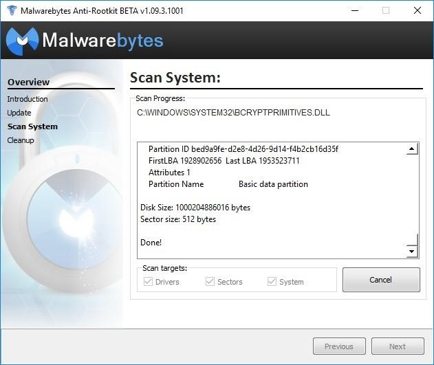 Screenshot 1 - Malwarebytes Anti-Rootkit