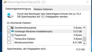 Windows 7/8/10: So löschen Sie den Ordner windows.old Im Beispiel schluckt der überflüssige Windows-Ordner über 8 Gigabyte.©COMPUTER BILD