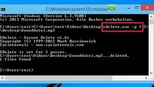 SDelete: Microsoft-Programm löscht Dateien sicher Kein Augenschmaus, doch es funktioniert: Das Löschen von Inhalten mit SDelete.©COMPUTER BILD
