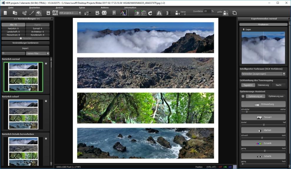 Screenshot 1 - HDR Projects 3 Elements – Kostenlose Vollversion