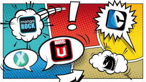 Comic-Reader © cunico - Fotolia.com, Marvel Entertainemnt, comiXology, Dark Horse, Not A Basement Studio