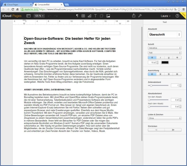 Screenshot 1 - iCloud Pages