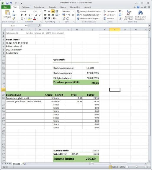 Rechnungsgutschrift (Excel-Vorlage) - Download - COMPUTER BILD