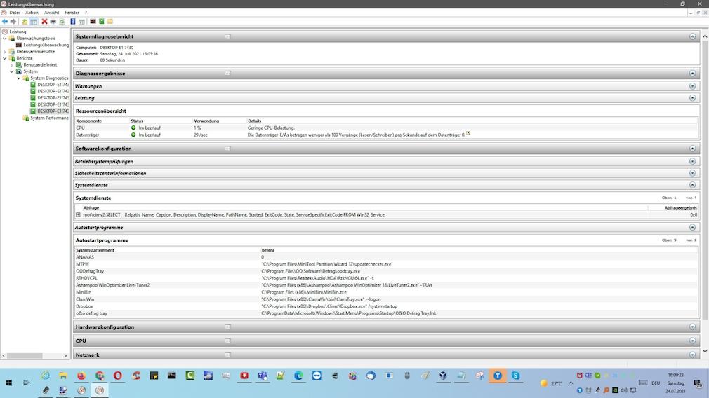 """Windows 7/8/10: Systemintegrität prüfen per Systemintegritätsbericht Je nach individuellem Computersystem variiert in """"perfmon /rel"""" die Datenausbeute."""