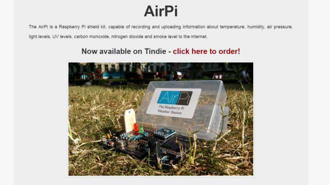 AirPi: Mobile Wetterstation für den Raspberry Pi © Alyssa Dayan & Tom Hartley via www.airpi.es – Screenshot
