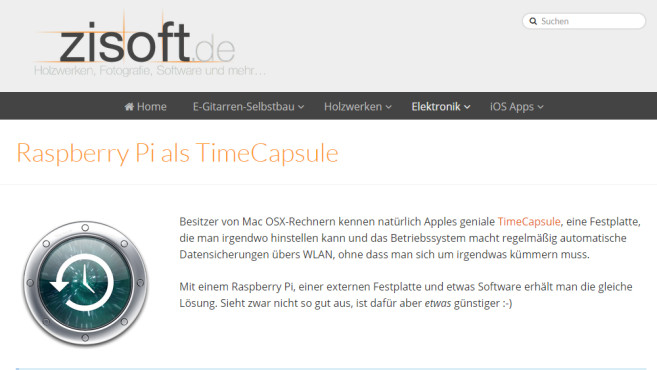Backup-Speicher: Raspberry Pi als Time Capsule © Mario Zimmermann via www.zisoft.de – Screenshot