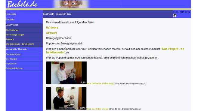 Bechele: Puppen zum Leben erwecken ©Rolf Jethon via bechele.de – Screenshot