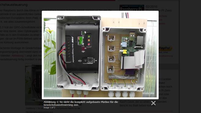 Raspberry PI steuert Gewächshaus ©raspberry-pi-geek.de – Screenshot