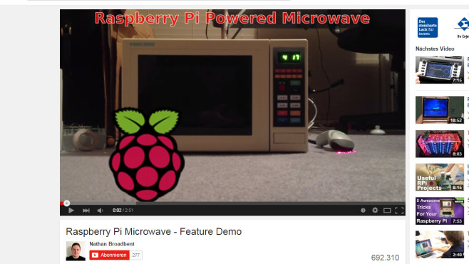 Raspberry Picrowave: Die schlaue Mikrowelle © Nathan Broadbent via YouTube – Screenshot