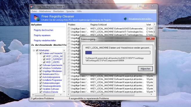 Eusing Free Registry Cleaner: Langsam, aber gründlich ©COMPUTER BILD