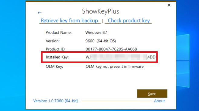 Windows 7/8/10: Lizenzschlüssel auslesen ohne Zusatzsoftware©COMPUTER BILD