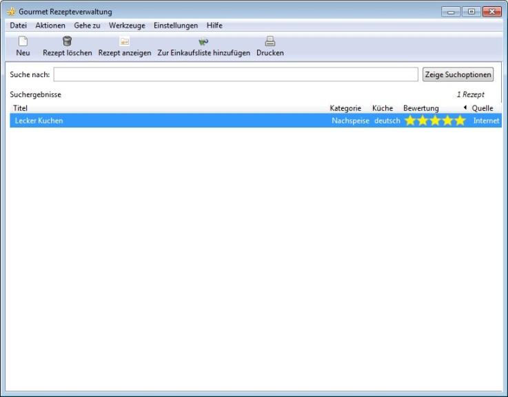 Screenshot 1 - Gourmet Recipe Manager