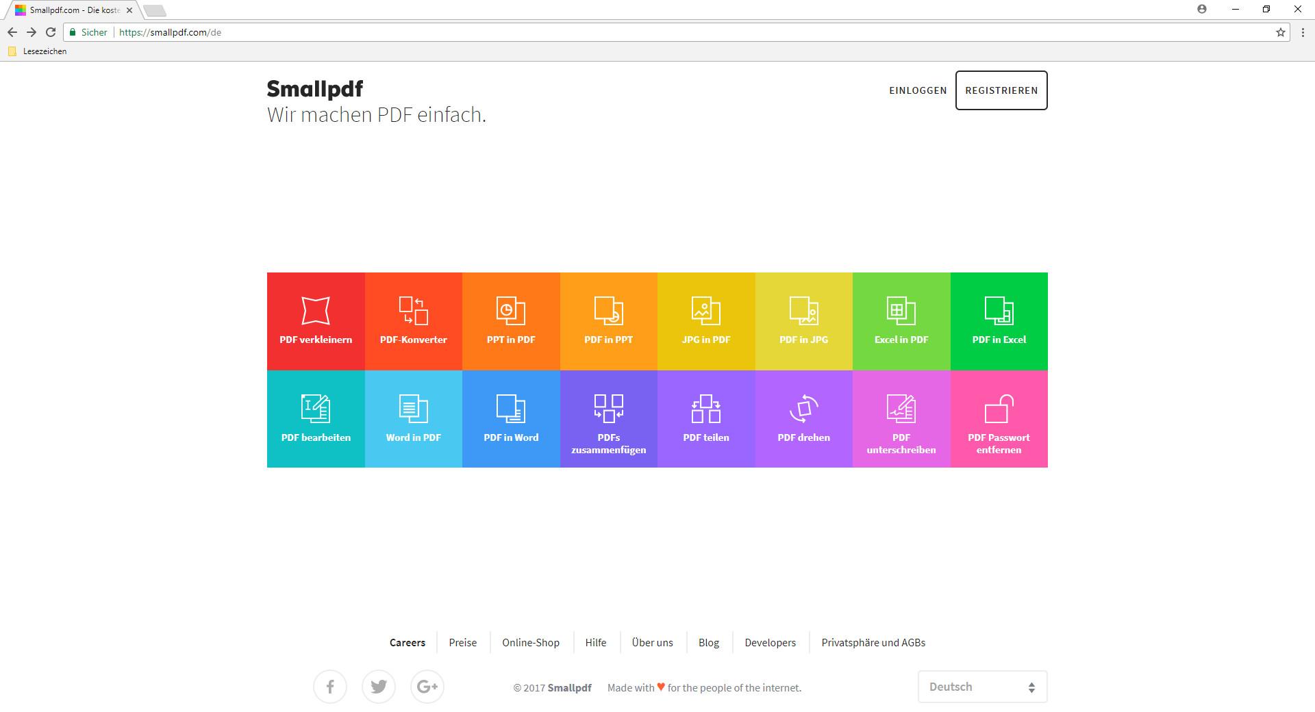 Screenshot 1 - SmallPDF: PDFs kostenlos online bearbeiten und umwandeln (PDF in Word)