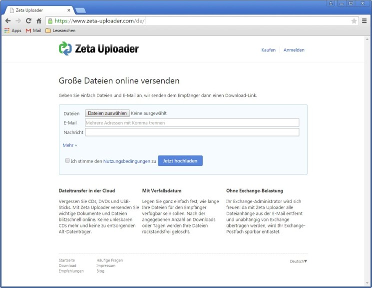 Screenshot 1 - Zeta Uploader