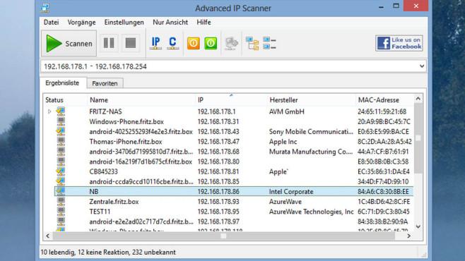 Advanced IP Scanner: Geräteprüfung mit praktischem WoL ©COMPUTER BILD
