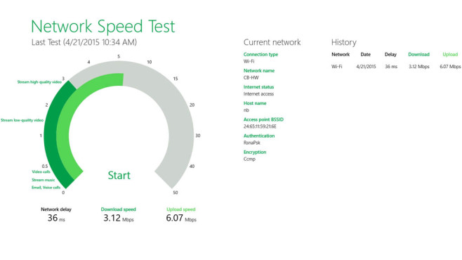 Microsoft Network Speed Test (App für Windows 10 & 8): Internettempo messen © COMPUTER BILD