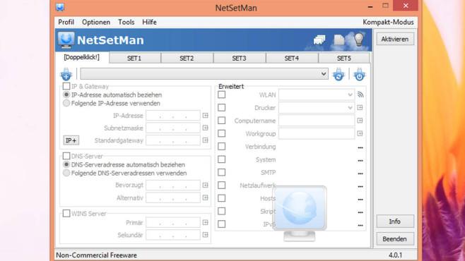 NetSetMan: Netzwerkeinstellungen wechseln ©COMPUTER BILD