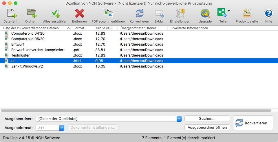 Screenshot 1 - Doxillion Document Converter (Mac)