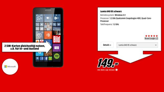 Microsoft Lumia 640 Dual SIM ©Media Markt