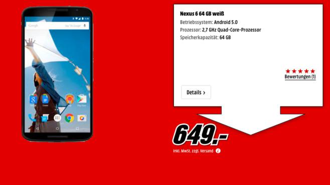 Motorola Nexus 6 64GB ©Media Markt