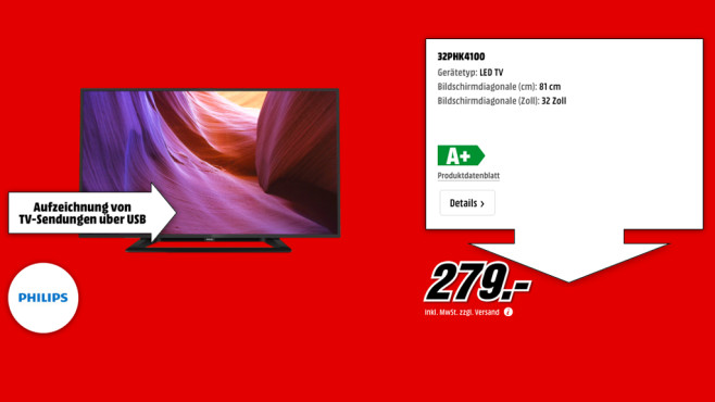 Philips 32PHK4100 ©Media Markt