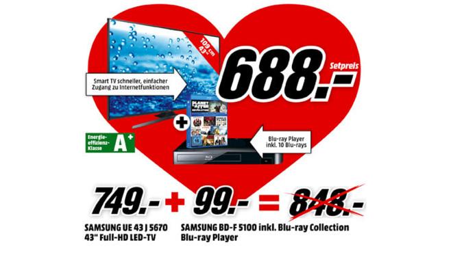 Samsung UE43J5670 + Samsung BD-F5100 ©Media Markt