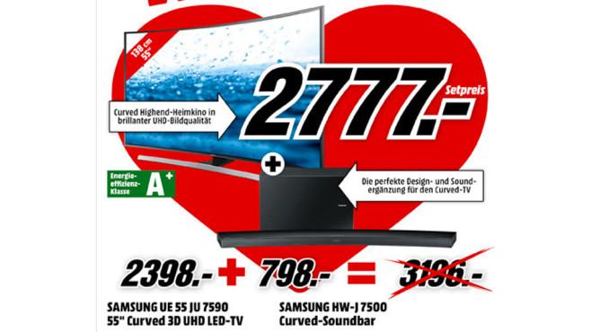 Samsung UE55JU7500T + Samsung HW-J7501 ©Media Markt