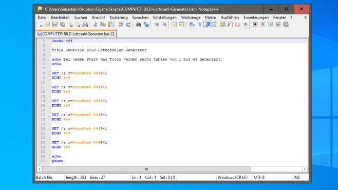 Notepad++: Programmieren, etwa in Batch ©COMPUTER BILD