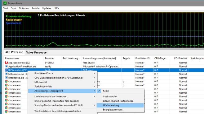 Process Lasso: Programme viel Strom gewähren ©COMPUTER BILD
