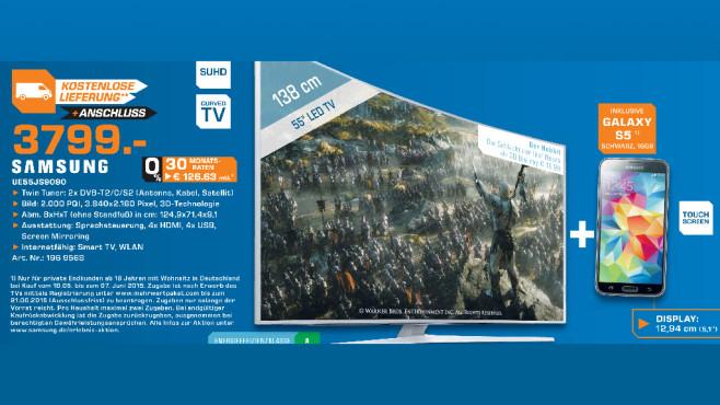 Samsung UE55JS9090 + Samsung Galaxy S5 ©Saturn