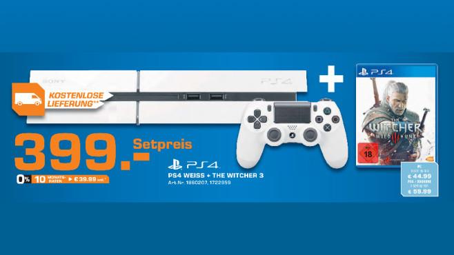 Sony PlayStation 4 weiß + The Witcher 3 ©Saturn