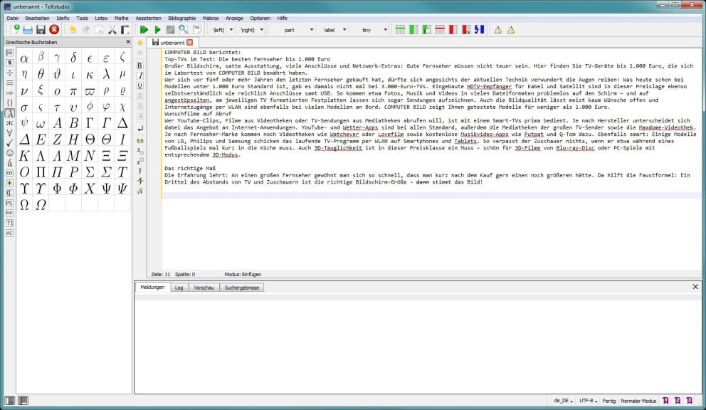 Screenshot 1 - TeXstudio
