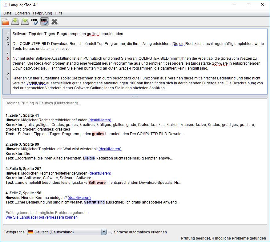 Screenshot 1 - LanguageTool