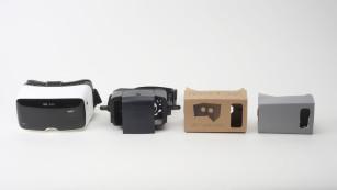 Die vier Kontrahenten (v. l. n. r.): Zeiss One VR, Dive by Durovis, Cardboard-Kit von Autodesk und die VR-Brille aus dem Eigenbau©Katharina Rose / Computer Bild