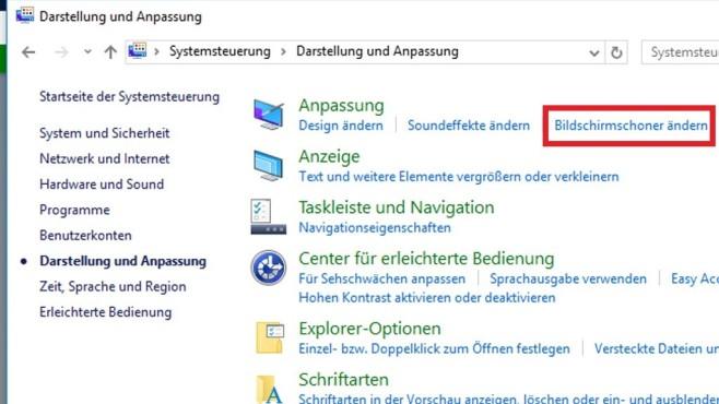 Bildschirmschoner ändern per Systemsteurung ©COMPUTER BILD