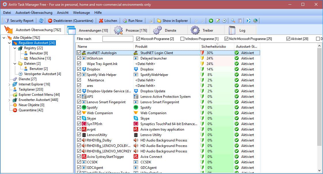 Screenshot 1 - AnVir Task Manager Free Portable