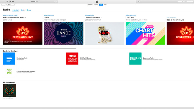 Apple Music in der Desktop-Version von iTunes © Apple