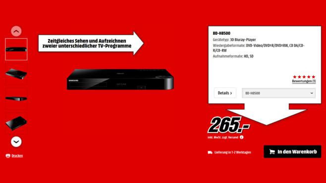 Samsung BD-H8500 ©Saturn