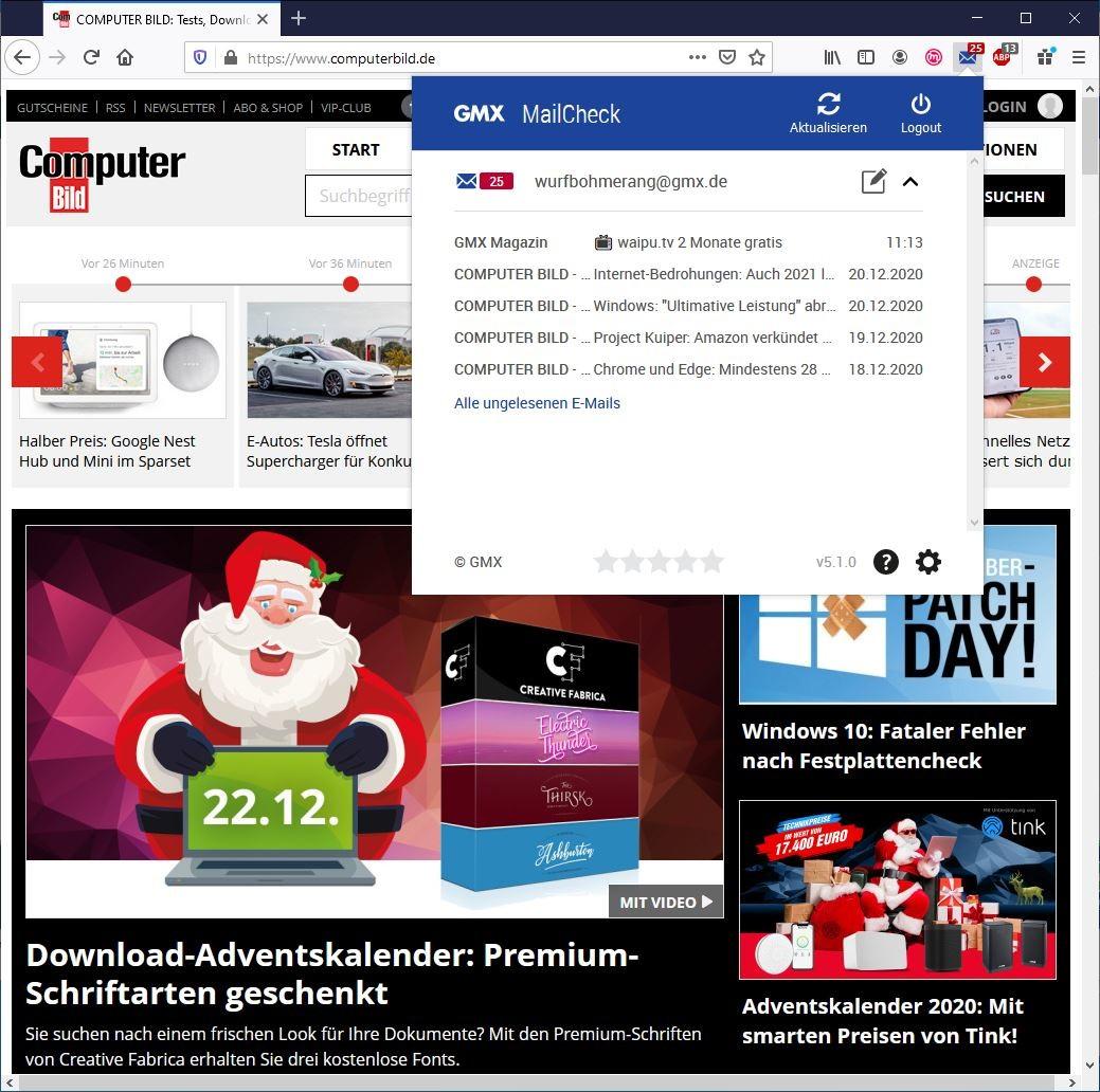 Screenshot 1 - GMX MailCheck für Firefox