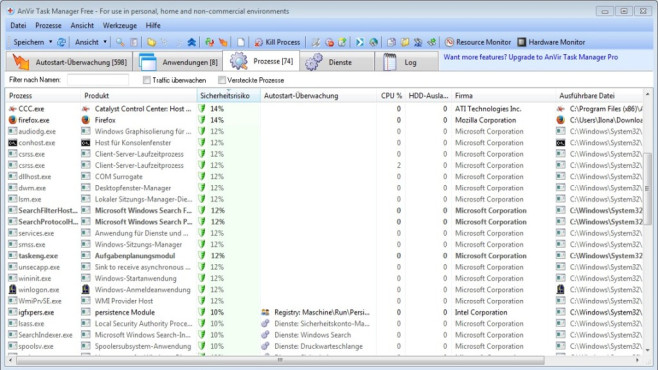 AnVir Task Manager Free Portable © COMPUTER BILD